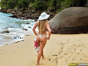 Alessandra came down the rocks. That is one incredibly valuable ass!..