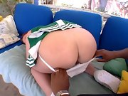 man nails big butt cheerleader hottie